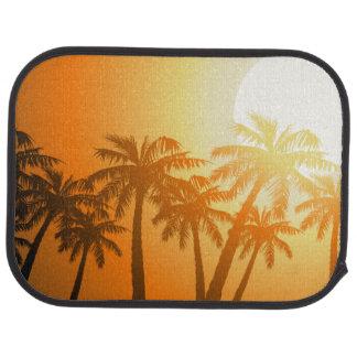 Tropical palm trees at sunset car mat