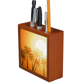 Tropical palm trees at sunset desk organizer
