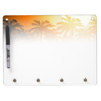 Tropical palm trees at sunset dry erase board with keychain holder