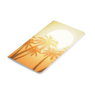 Tropical palm trees at sunset journal