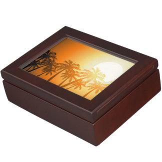 Tropical palm trees at sunset keepsake boxes