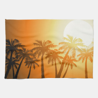 Tropical palm trees at sunset kitchen towel