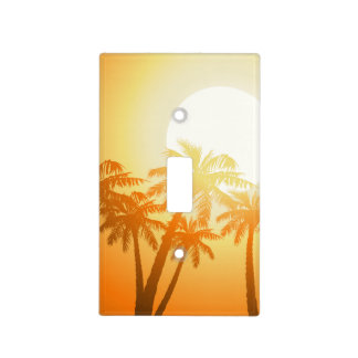 Tropical palm trees at sunset light switch cover