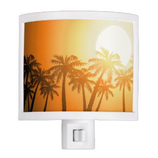 Tropical palm trees at sunset night lites