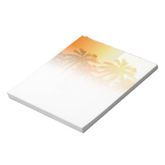 Tropical palm trees at sunset notepad