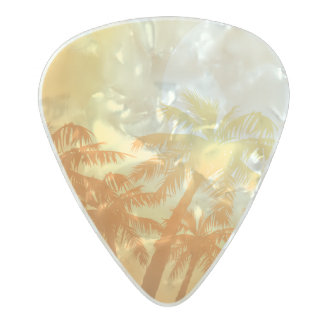 Tropical palm trees at sunset pearl celluloid guitar pick