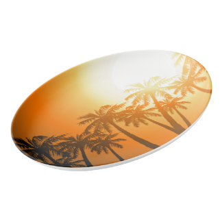 Tropical palm trees at sunset porcelain serving platter