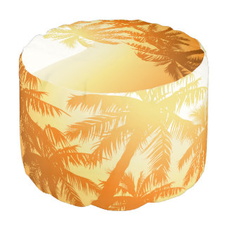 Tropical palm trees at sunset pouf