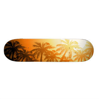 Tropical palm trees at sunset skateboard