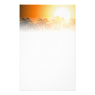 Tropical palm trees at sunset stationery