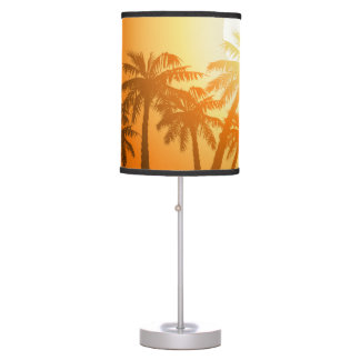 Tropical palm trees at sunset table lamp