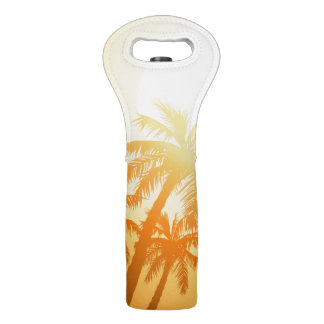 Tropical palm trees at sunset wine bag