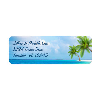 Tropical Palm Trees Beach Address Return Address Label