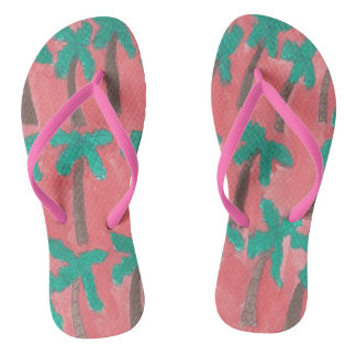 Tropical Palm Trees Flipflops Flip Flops