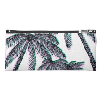 Tropical Palm Trees in Pink Teal Black Pencil Case