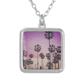 Tropical Palm Trees Miami Los Angeles Venice Silver Plated Necklace