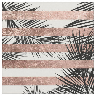 Tropical palm trees modern rose gold stripes fabric