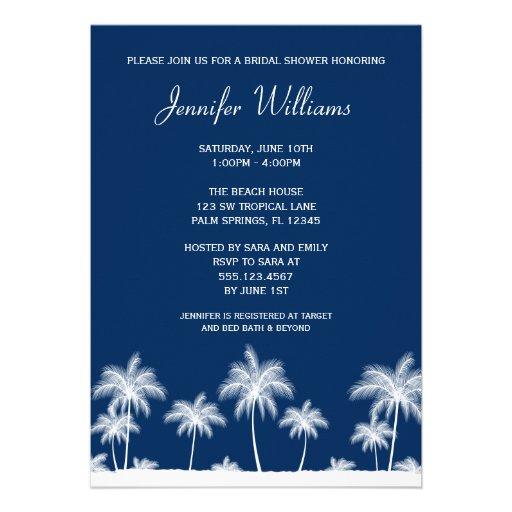 Tropical Palm Trees Navy Bridal Shower Invitation