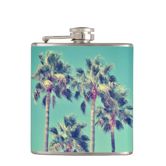 Tropical Palm Trees on Teal Green Hip Flask