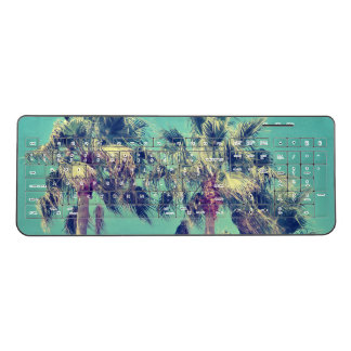 Tropical Palm Trees on Teal Wireless Keyboard