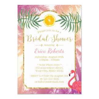 Tropical Palm Trees & Orange Fruit Bridal Shower Card