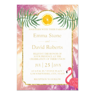 Tropical Palm Trees & Orange Fruit Summer Wedding Card