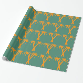 Tropical Palm Trees orange Summer Wrapping Paper