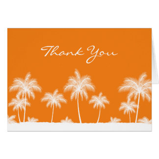 Tropical Palm Trees Orange Thank You Card