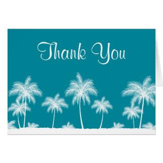 Tropical Palm Trees Teal Bat Mitzvah Thank You Card