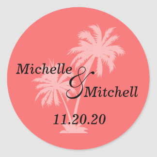 Tropical Palm Trees Wedding Labels (Coral) Sticker