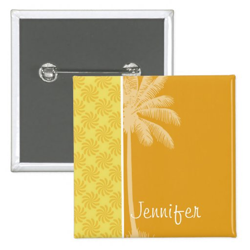 Tropical Palm; Yellow Orange Swirl Button