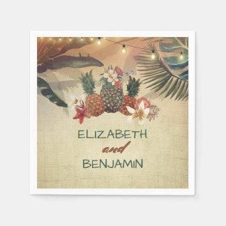 Tropical Palms and Pineapple Beach Wedding Napkin