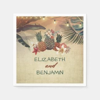 Tropical Palms and Pineapple Beach Wedding Paper Napkins