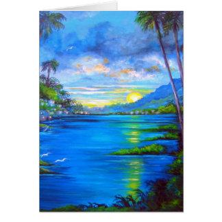 Tropical Palms Blue Card