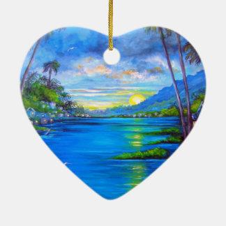 Tropical Palms Blue Ceramic Heart Ornament