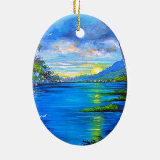 Tropical Palms Blue Ceramic Oval Ornament