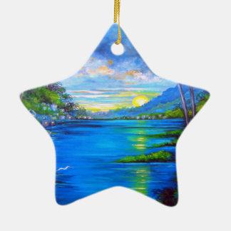 Tropical Palms Blue Ceramic Star Ornament