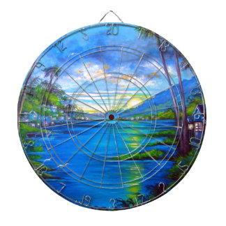 Tropical Palms Blue Dartboard