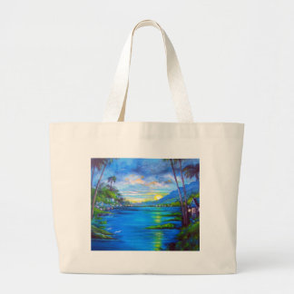 Tropical Palms Blue Large Tote Bag