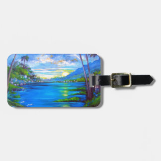 Tropical Palms Blue Luggage Tag