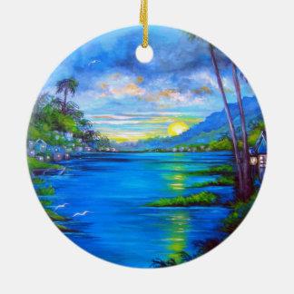 Tropical Palms Blue Round Ceramic Ornament