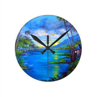 Tropical Palms Blue Round Clock