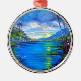 Tropical Palms Blue Silver-Colored Round Ornament