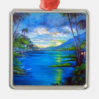 Tropical Palms Blue Silver-Colored Square Ornament