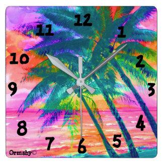 Tropical Palms Clock