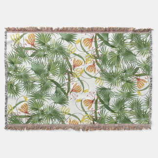 Tropical Palms Gloriosa Lily Flowers Throw Blanket