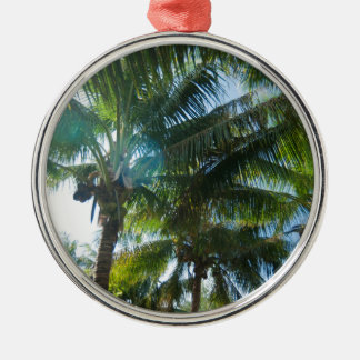Tropical palms lit by the sun Silver-Colored round ornament
