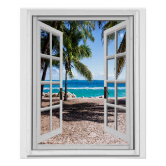 Tropical Palms on Beach Ocean View Faux Window Poster