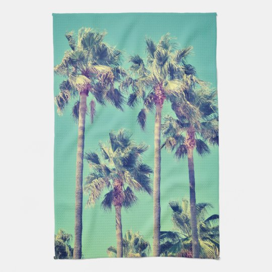 Tropical Palms on Teal Hand Towel
