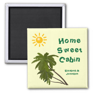 Tropical Palms Personalized Cabin Door Marker Square Magnet